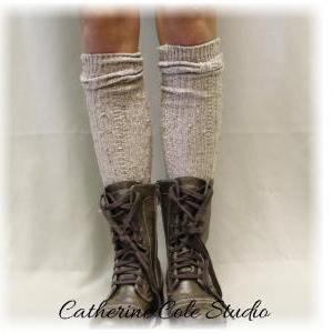 Tweed oatmeal tall boot socks