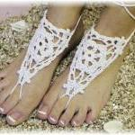 Barefoot sandals handmade 100% cotton great for beach wedding summer slave sandals foot jewelry resort wear Catherine Cole BF-2