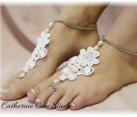 Barefoot Sandals venise lace applique w pearls perfect for beach parties, weddings foot jewelry BF9 slave sandals Catherine Cole Studio