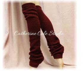 BURGUNDY Basic Dancer ballerina yoga Extra Long leg warmers womens popcorn texture roomier LW02 by Catherine Cole Studio legwarmersFrom CatherineColeStudio