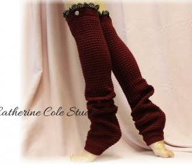 BURGUNDY Dancer ballerina yoga EXTRA LONG leg warmers womens popcorn texture, lace buttons by Catherine Cole Studio legwarmers