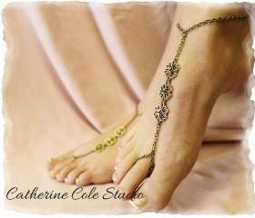 Bronze filigree charm Barefoot sandals great for summer 1 pr. slave sandals beach wear foot jewelry Catherine Cole Studio BF15