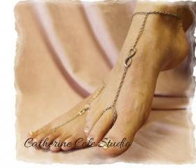 Silver infinity eternity symbol Barefoot sandals great for summer 1 pr. slave sandals beach wear foot jewelry Catherine Cole Studio BF13