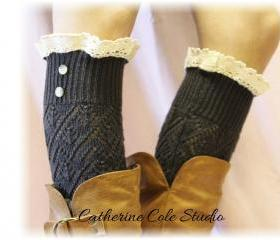 CHARCOAL Pointelle lace 2 button legwarmers Catherine Cole Studio LW29