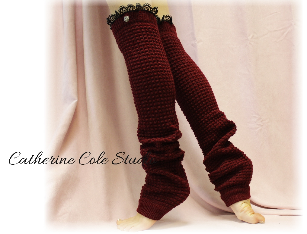BURGUNDY Dancer ballerina yoga EXTRA LONG leg warmers womens popcorn texture, lace buttons by Catherine Cole Studio legwarmers LW23
