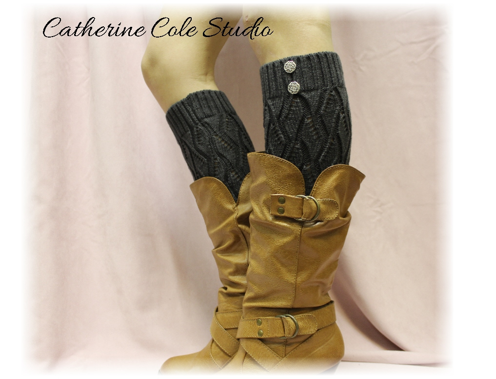 CHARCOAL GREY Open Crochet Knit Leg Warmers LW18 / Womens Knit Pattern Great With Cowboy Boots ...