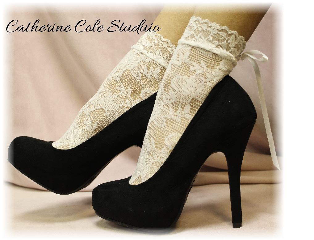"WHITE Baby Doll Lace Socks For Heels Retro 80""s Look"