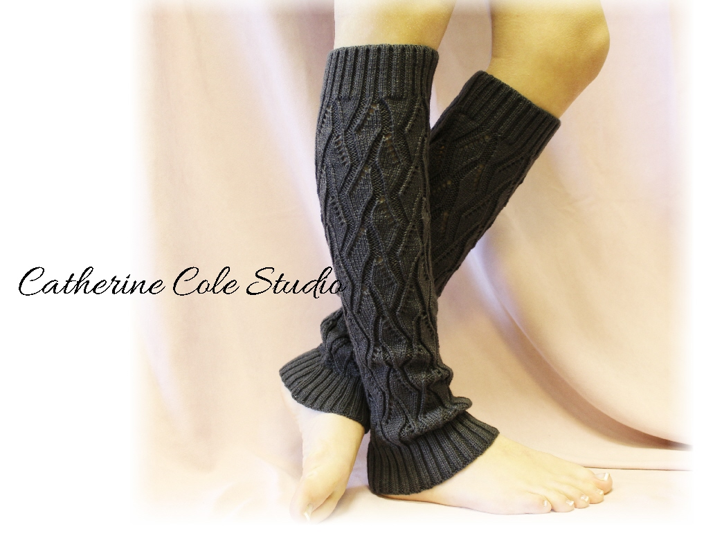 CHARCOAL Basic Open Crochet Knit Leg Warmers / Womens Knit Pattern Great With...