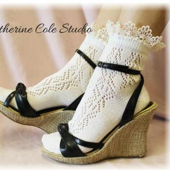 "Lace socks for heels Baby doll, 80""s inspired pointelle crochet lace socks , pretty for summer flats or heels catherine cole studio CS10"