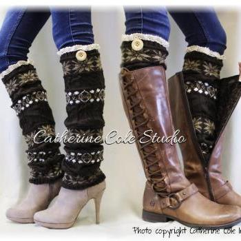 SCANDINAVIAN SNOWFLAKE brown knit snowflake womens legwarmers wood button boots leggings snowflake leg warmers Catherine Cole Studio LW6