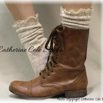 MISS TORI in Natural Fleck, lace boot socks boot socks,combat boot socks womens boot socks cowboy boot socks Catherine Cole Studio SLX204L