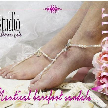 ANCHOR AMOUR Barefoot sandals pearl nautical beach wedding foot jewelry bridal shoes bridesmaids footless sandles Catherine Cole BF20