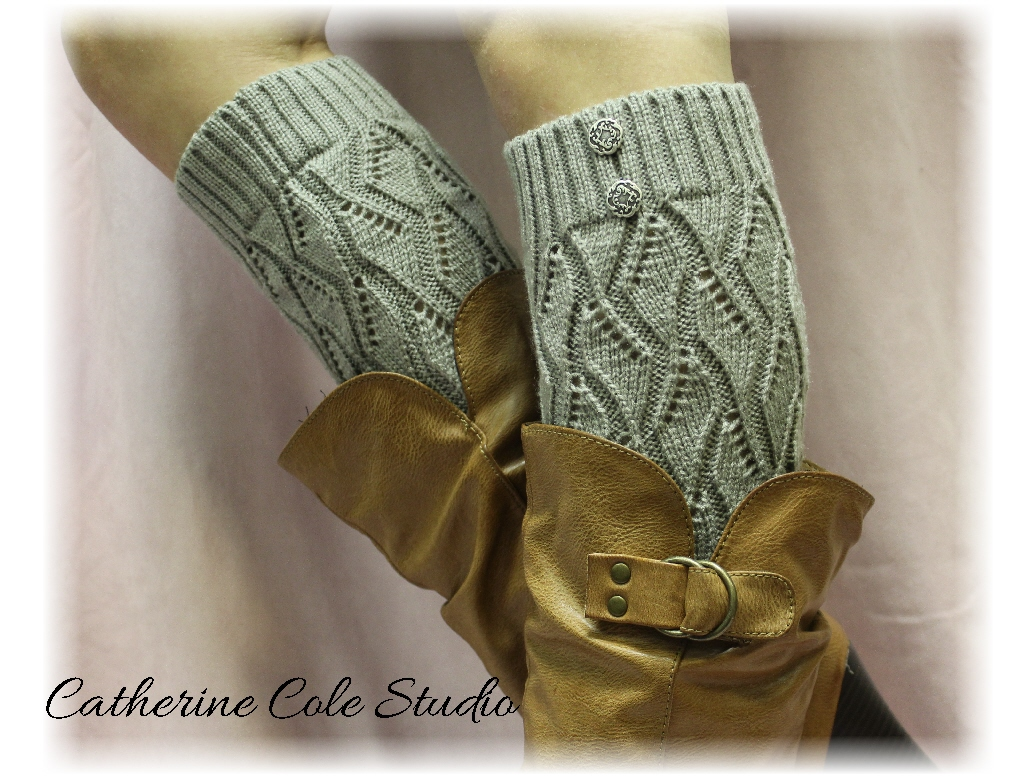 SILVER GREY Open Crochet Knit Leg Warmers LW18 / Womens Knit Pattern Great With Cowboy Boots By ...